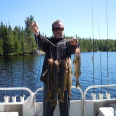 Fisherman with catches