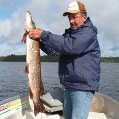 Fishing for northern pike on Lake Biscotasi