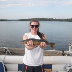 Carlee with walleye